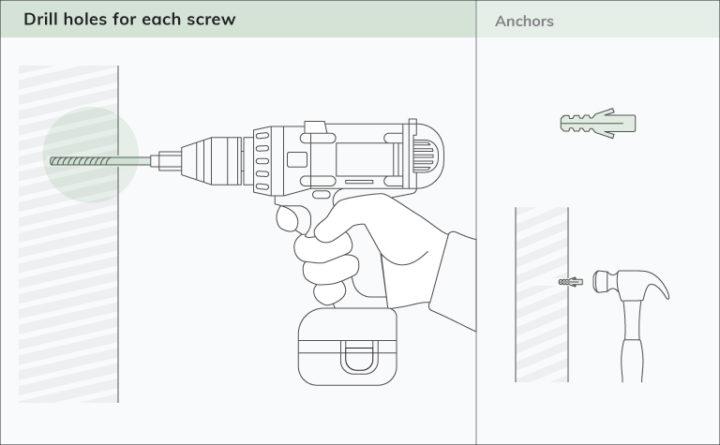 Use uma furadeira elétrica para fazer furos para cada parafuso.